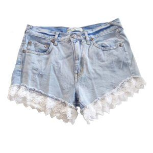 Free People High Waisted Denim Jean Shorts Lace